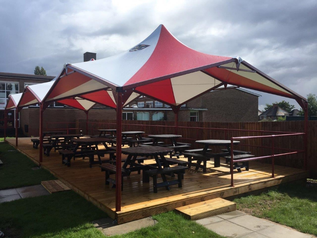 Covered Dining Shelter Canopies PVC coated waterproof protection